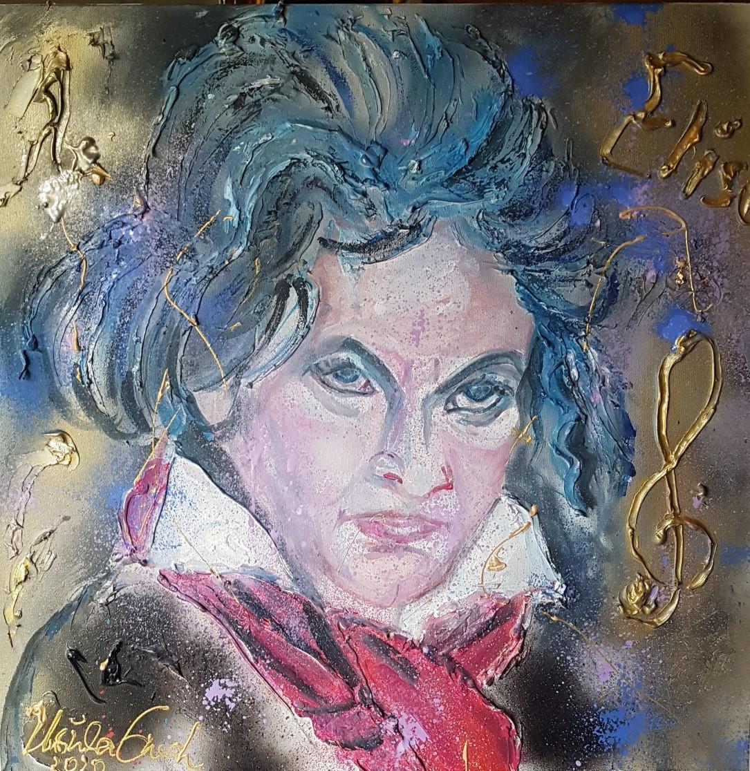 Ludwig van Beethoven in 2020 (Leinwand: 50 X 50 X 3,5 cm, Technik: Acryl/Mixed Media (Papiergold)