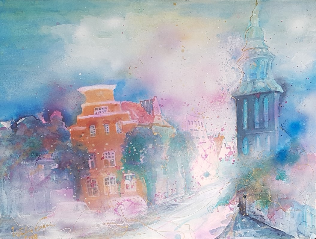 Love  is in the air (City of Nordhorn) (Technik: Aquarell, Fabriano 600 g 56 X 76 cm)