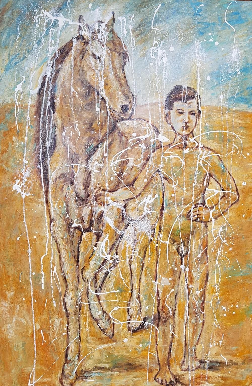 On the way to Pablo Picasso (Öl/Acryl auf Leinwand 79 X 118 X 2 cm)