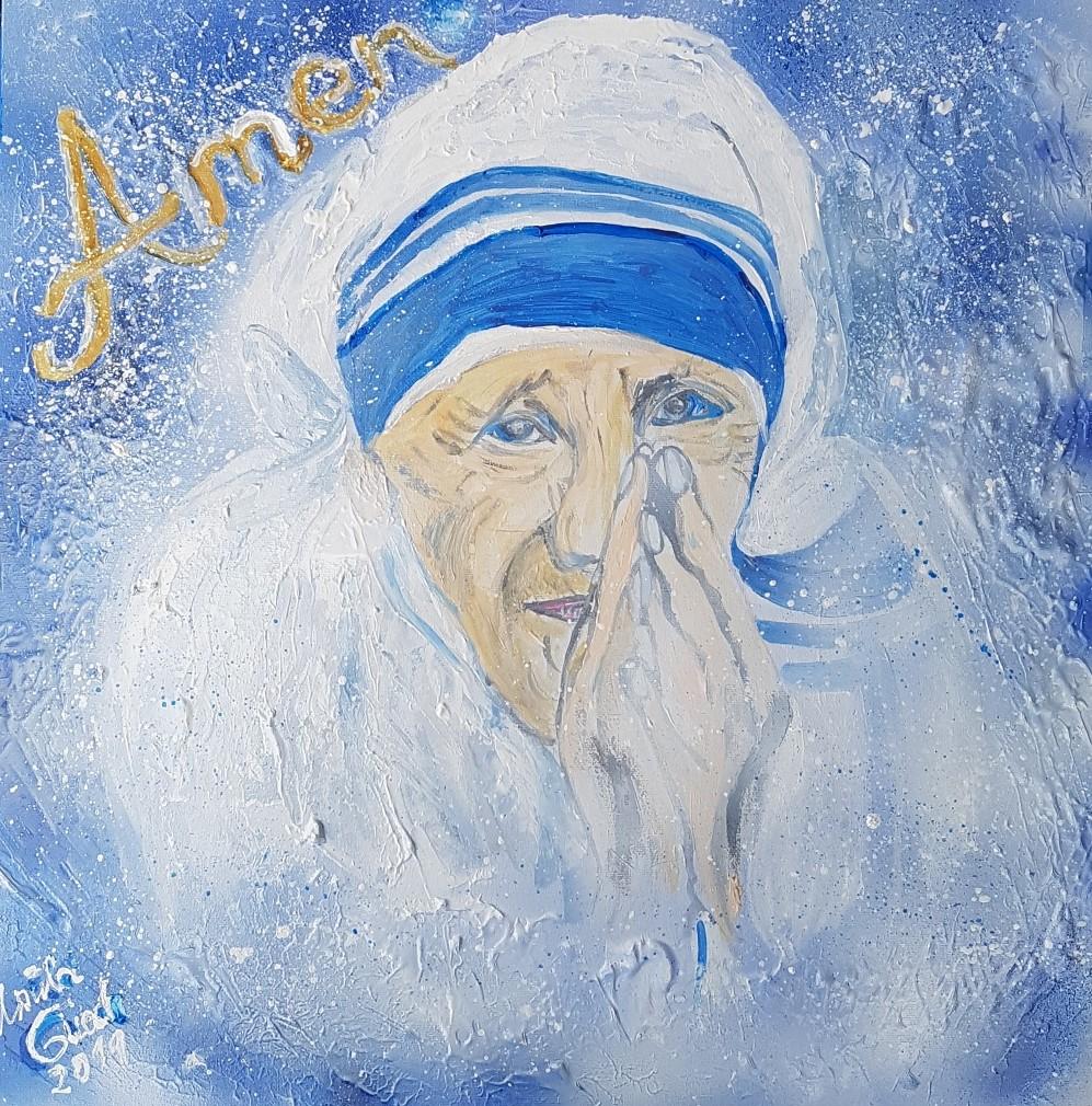 Begegnung mit der hl. Mutter Theresa (Technik: Acryl/Mixed Media auf Leinwand 50 X 50 X 3,5 cm)