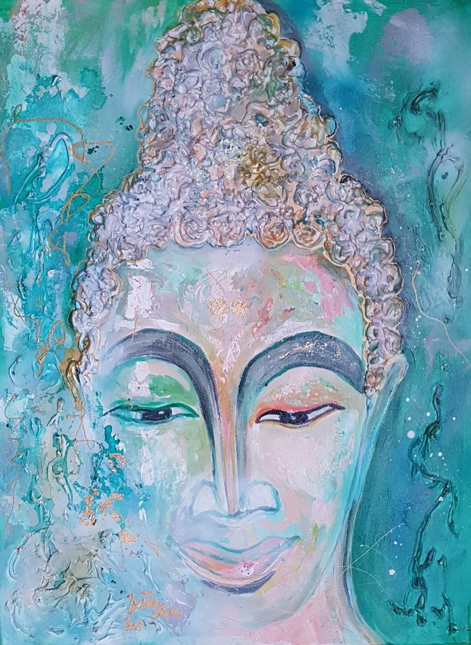 Meeting with Buddha in Phuket (Technik: Acryl/mixed Media, 60 X 80  1,5 cm)