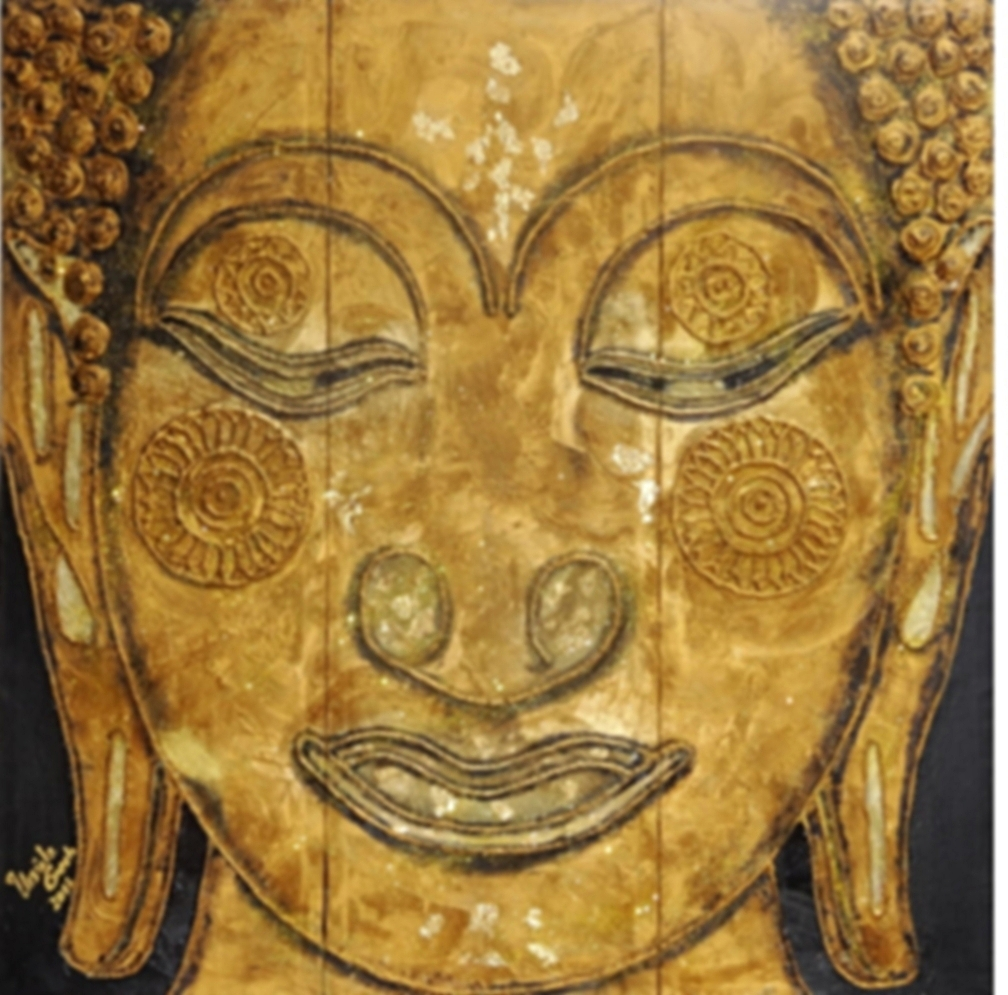 Buddha     (Technik: Öl und Acryl auf Leinwand   90 cm X 90 cm  (dreiteilig))
