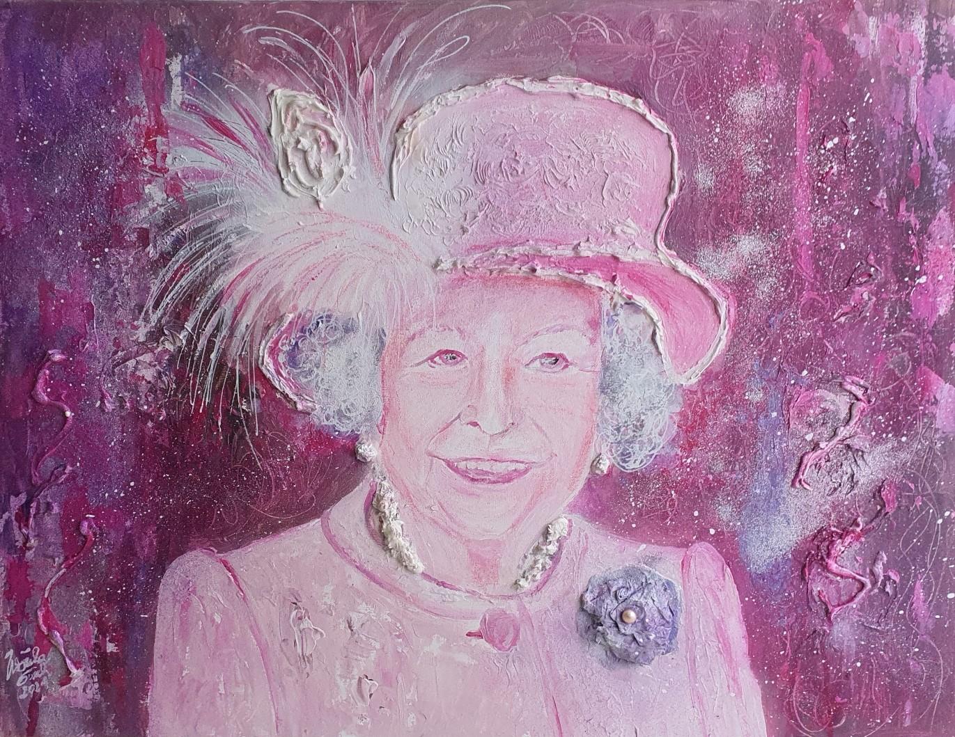 The unique Queen Elizabeth II. (Technik: Acryl, Zement pp. auf Leinwand 60 X 80 X 1,5 cm)