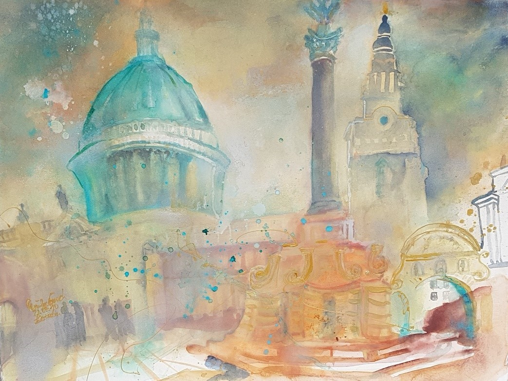 St. Paul's   cathedrale /London  (Technik: Aquarell auf Fabriano 600 g/sat. 76 X 56 cm)