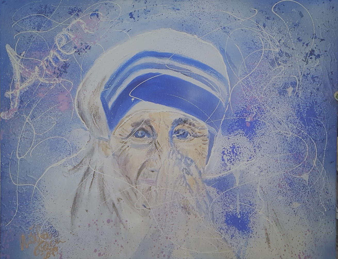 holy mother Teres (Technik: Acryl/mixed Media auf Leinwand 40 X  50 X 1,5 cm