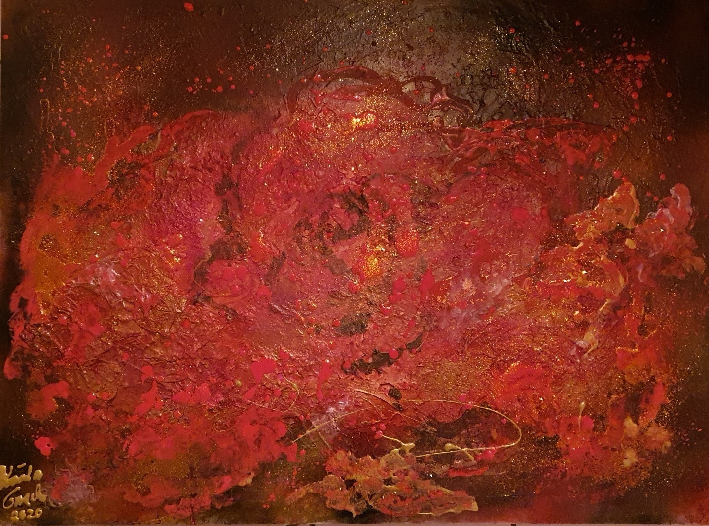 Lovestory on Christmas (Technik: Acryl/Mixed Media on Canvas) 60 X 80 X 1,5 cm)