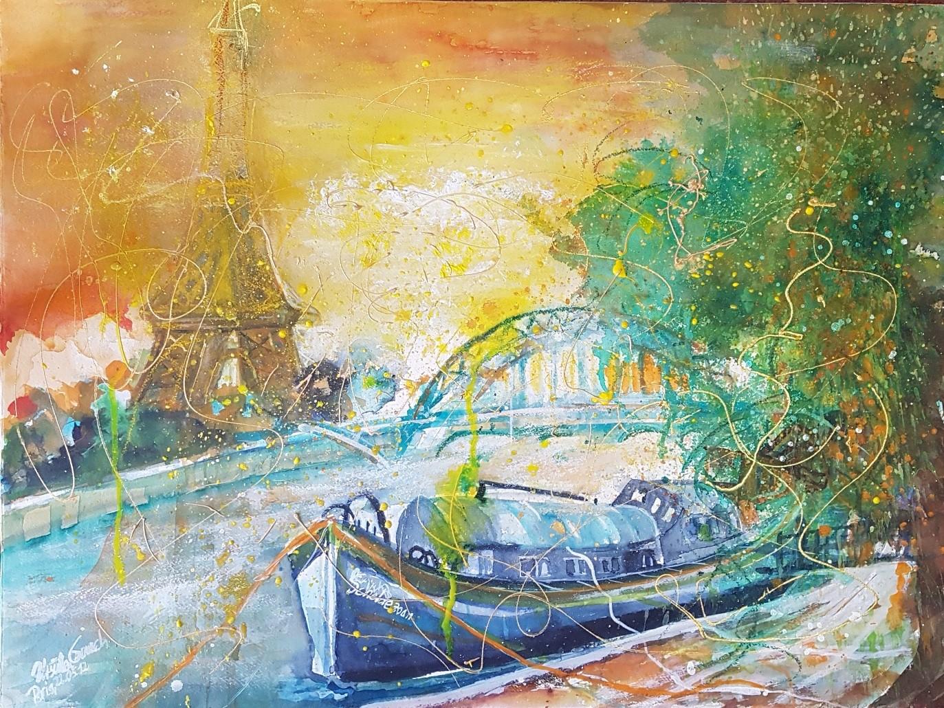 Fantastic Paris (Technik: Expressives Aquarel/Mixed Media  auf Fabriano 650 g Satinata 76 X 56 cm)