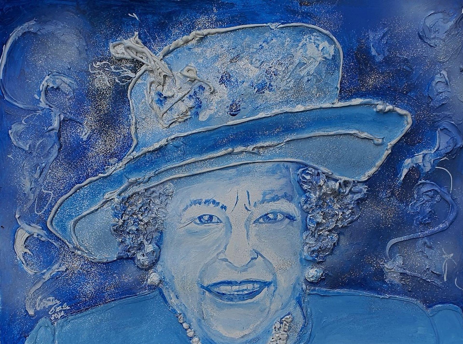 Queen Elizabeth II. (Technik: Acryl, Mixed Media pp. on paper, 42 X 56 X 0,2 cm)