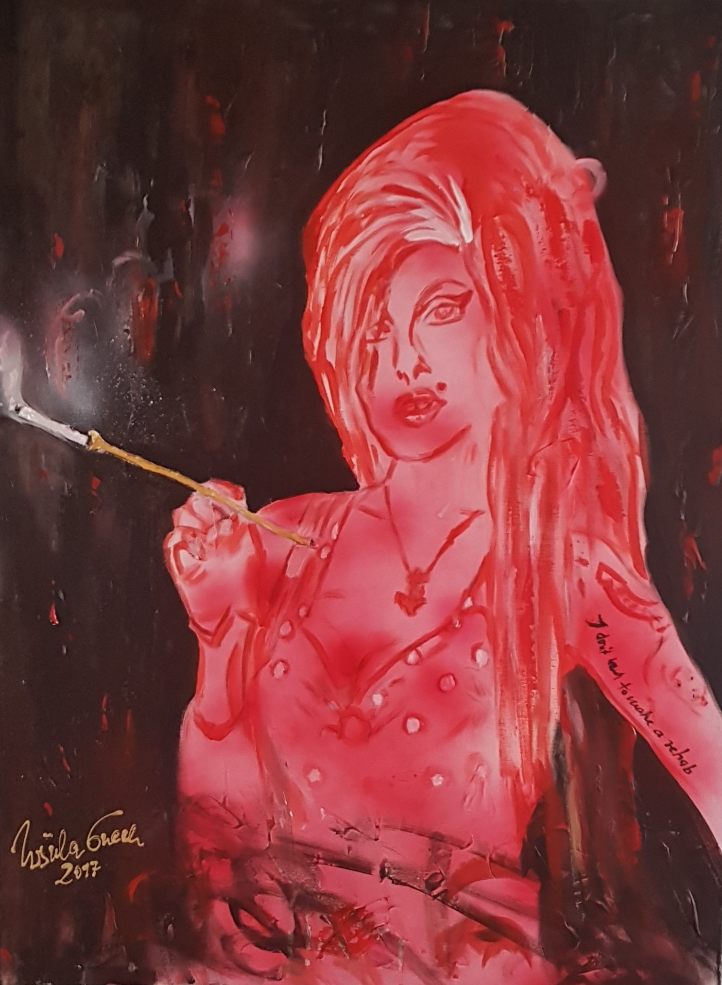 Amy Winehouse (Technik: Acryl/Gesso auf Leinwand   80 X 60 cm)