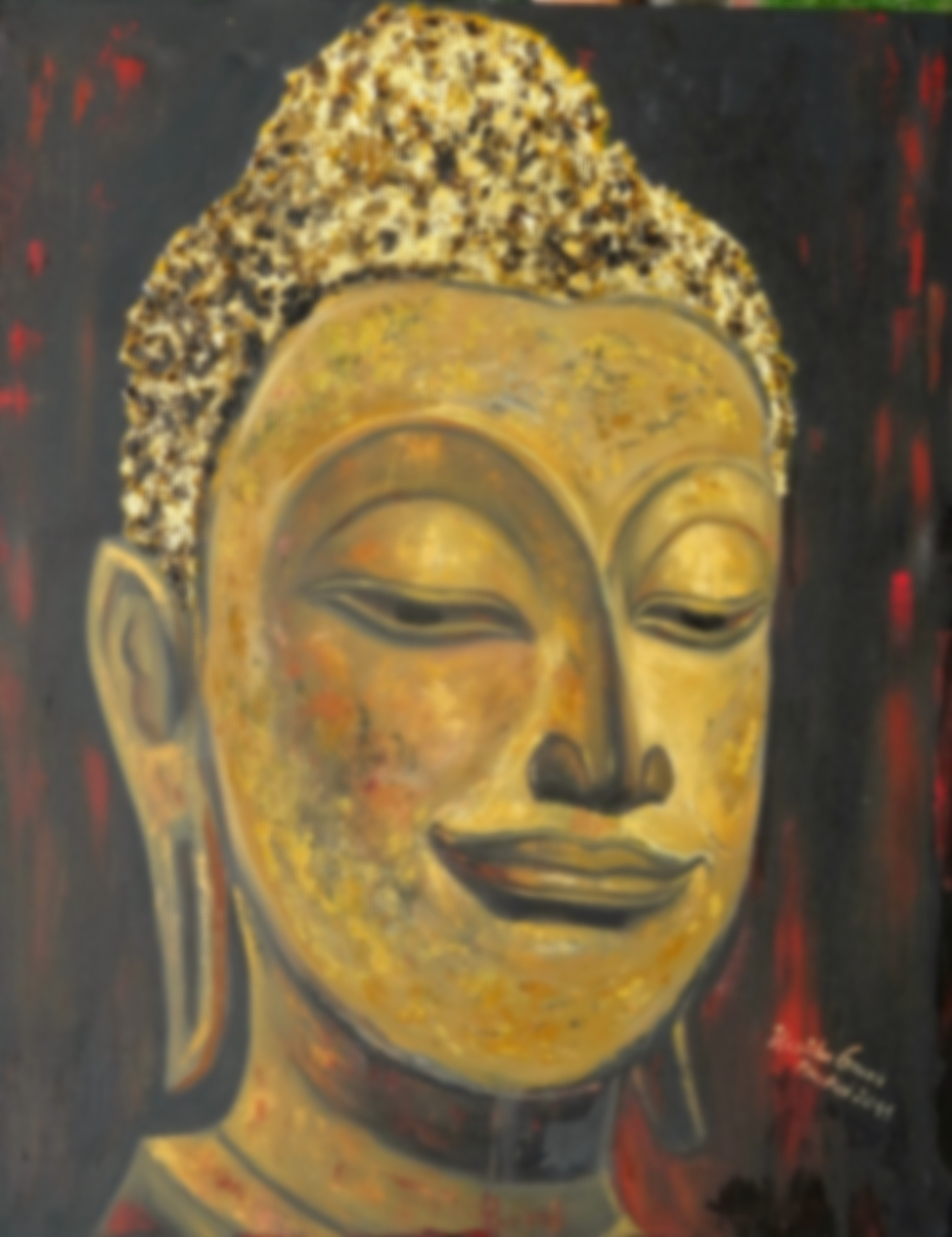 Buddha in Gold     (Technik: Öl und Acryl  auf Leinwand    1,20 m X 90 cm)
