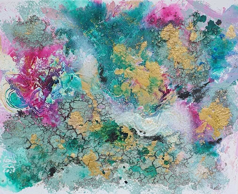 The garden of love (Acryl/Mixed Media + papergold on Canvas 40 X 50 X 1,5 cm)