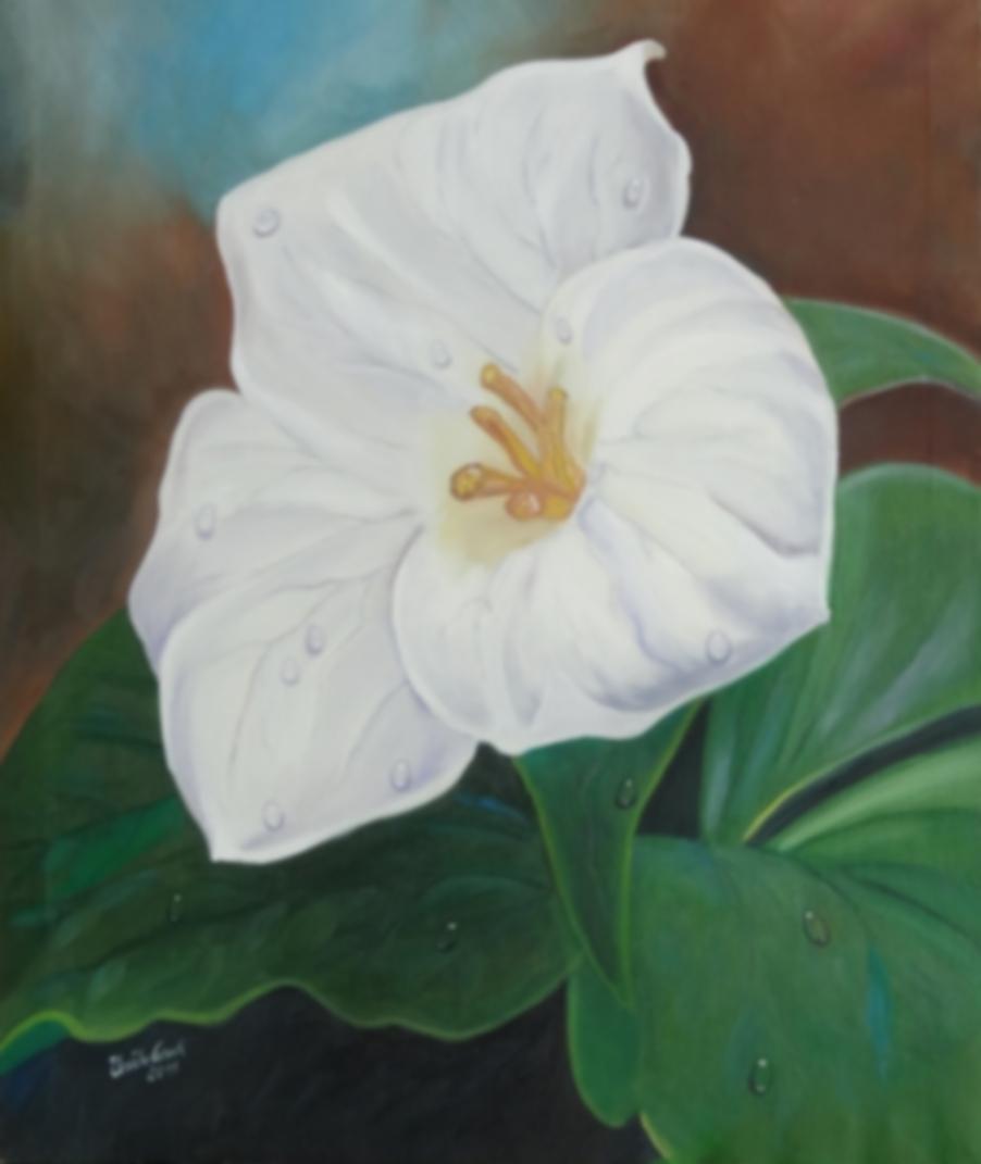weiße Blume      (Technik: Öl   auf Leinwand   1,20 m X 90 cm)