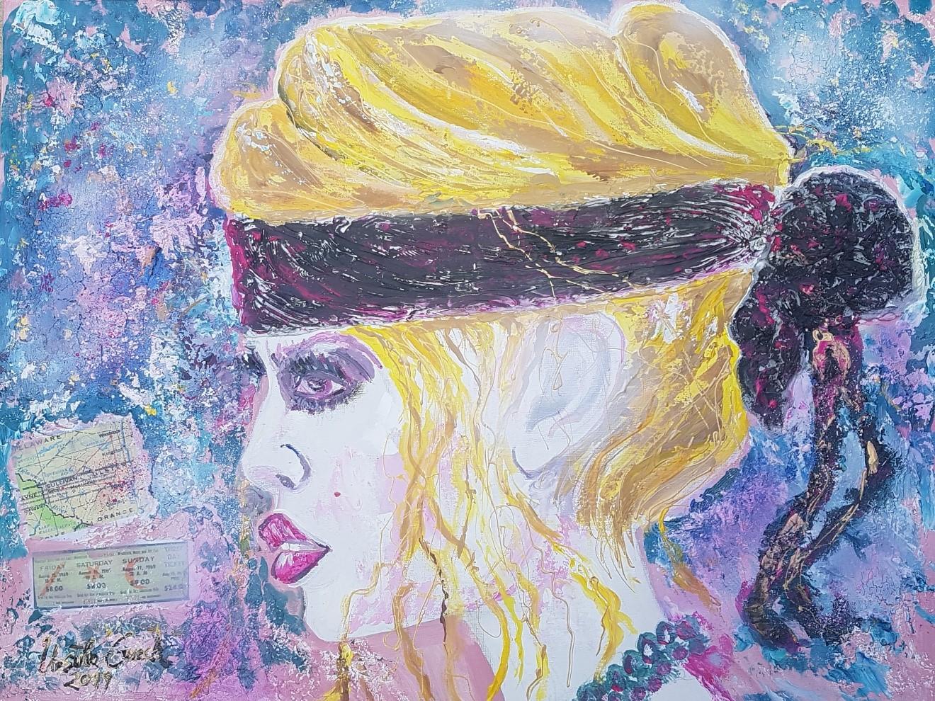 Brigitte Bardot (Woodstock) (Technic: Acryl/Collage/Mixed Media on Canvas 80 X 60 X 1,5 cm)