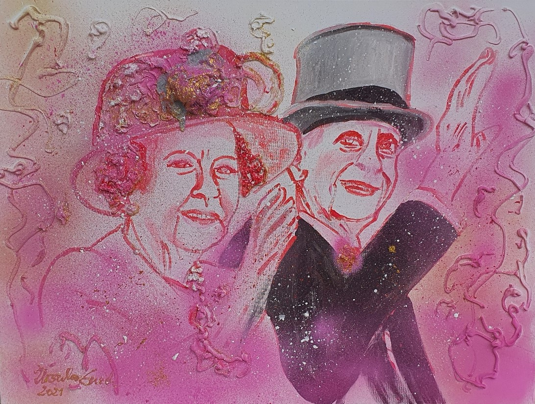 lovestory of Queen Elizabeth II and Prince Philipp (Technik: Acryl/Mixed Media on Canvas, 60 X 80 X 1,5 cm)