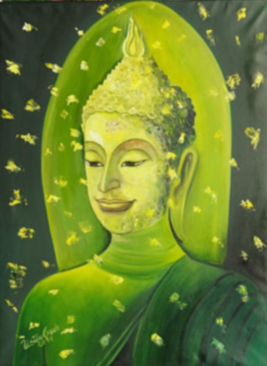 Buddha in Grün     (Technik: Öl   auf Leinwand 1,20 m X 90 cm)
