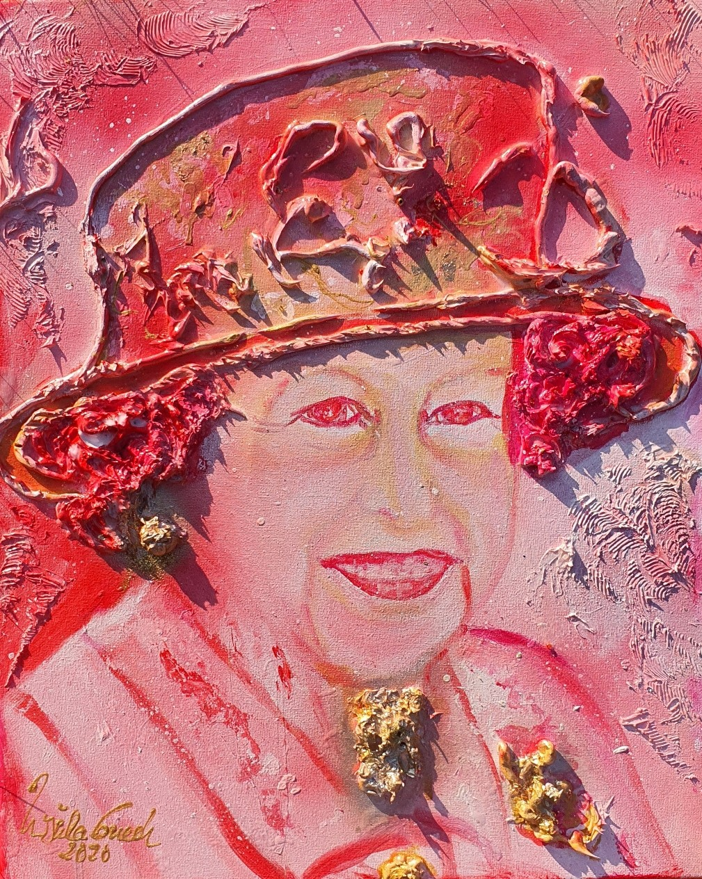 Queen Elizabeth: A life for the crown!!! (Technic: Acryl, paper gold, Mixed media, Canvas 50 X 40 X 1,5 cm