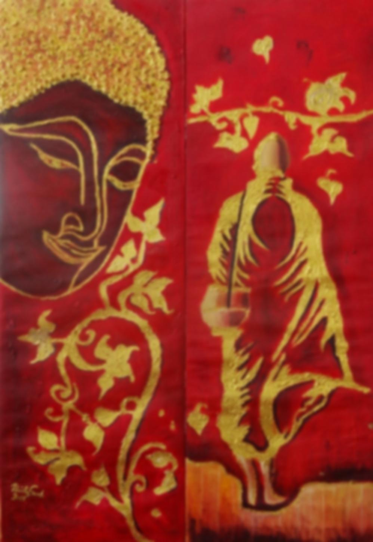 Buddhistische Inspirationen (zweiteilig)    (Technik: Öl /Acryl  auf Leinwand  1,20 m X 82 cm)