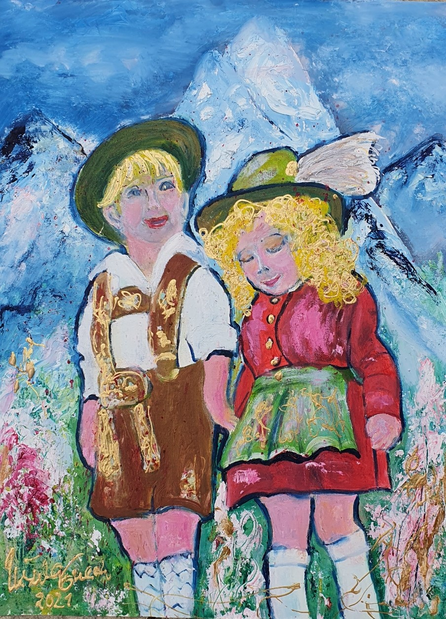 Beginning of a lovestory in the Alp/South-Germany (Öl auf Spezial-Papier 56 X 42 X 0,2 cm)