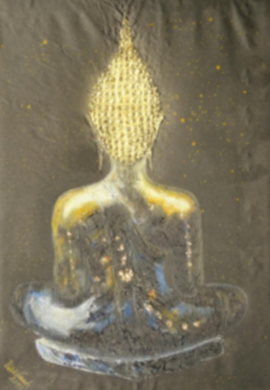 Backside of Buddha     (Technik: Öl und Acryl  auf Leinwand   1,20 m X 90 cm)