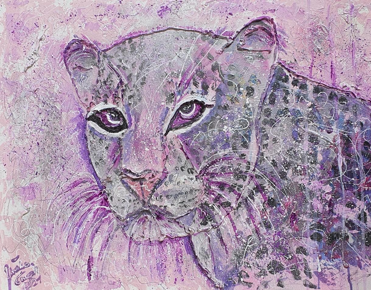 "Chaka!!! ""Kiss me tiger"" (Technic: Acryl, mixed Media on Canvas 60 X 80 X 1,5 cm)"