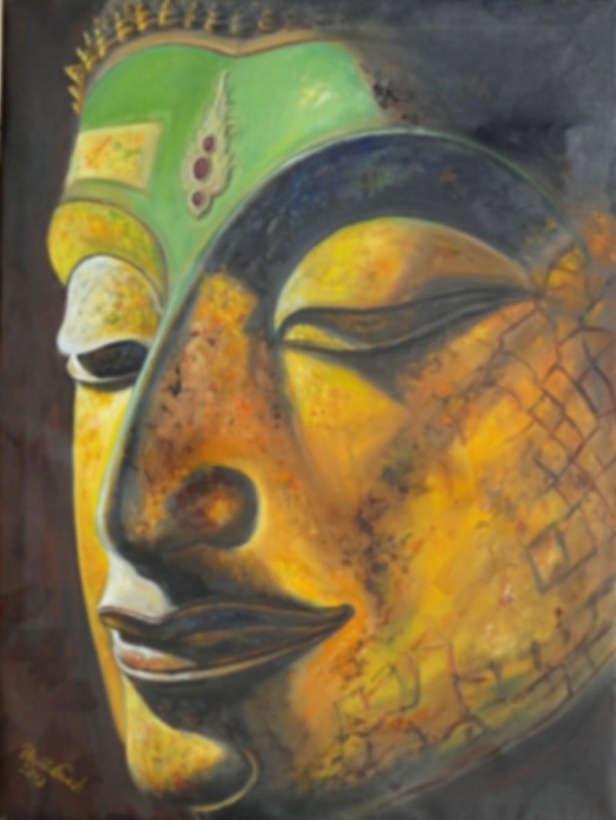 Buddha mit Kopf-Schmuck    Technik: Öl   auf Leinwand   1,20 m X 90 cm)