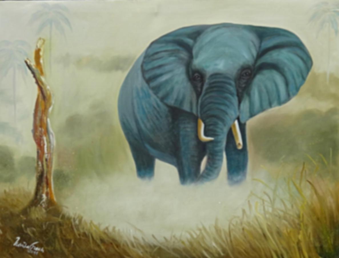 Elefant         (Technik: Öl           Leinwand:  1,20 m X 90 cm)