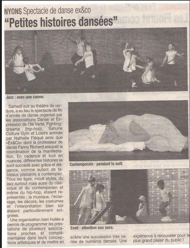 Premier spectacle d'Ex&Co (tribune juin 2009)
