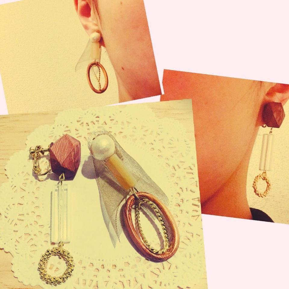 可愛いパーツを詰め込んだイヤリング。