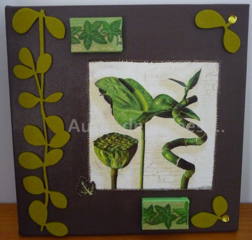 """Tableau """"Bambou"""" (chassis 30 x 30 cm)"""