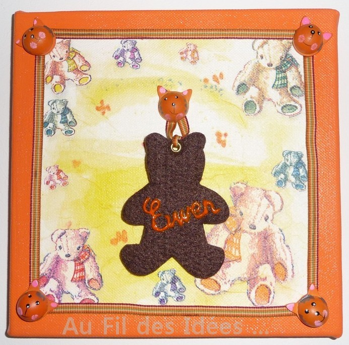 "Tableau Prénom "" Ewen"" (20 x 20 cm) - Création avril 2007"