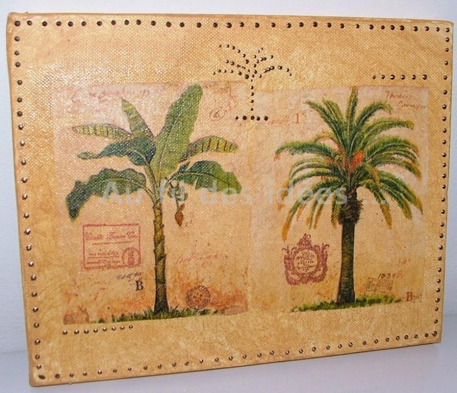 "Tableau ""Double palmiers"" (chassis 15 x 20 cm)"