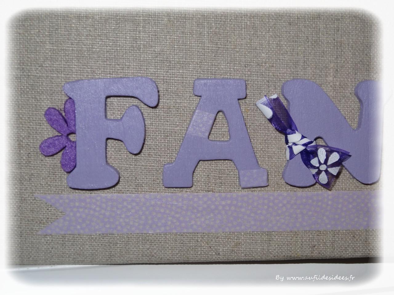 Tableau prénom Fanny - Créa Au Fil des Idées décembre 2014