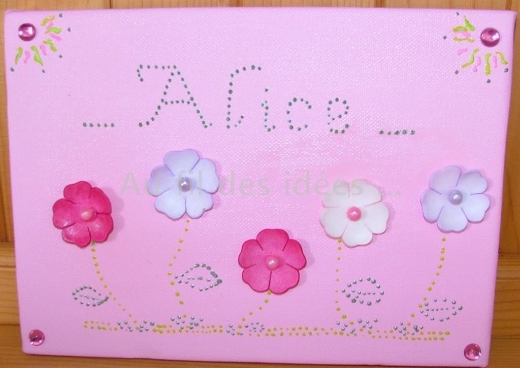 """Tableau Prénom """"Alice"""" (20 x 20 cm) - Création juin 2007"""
