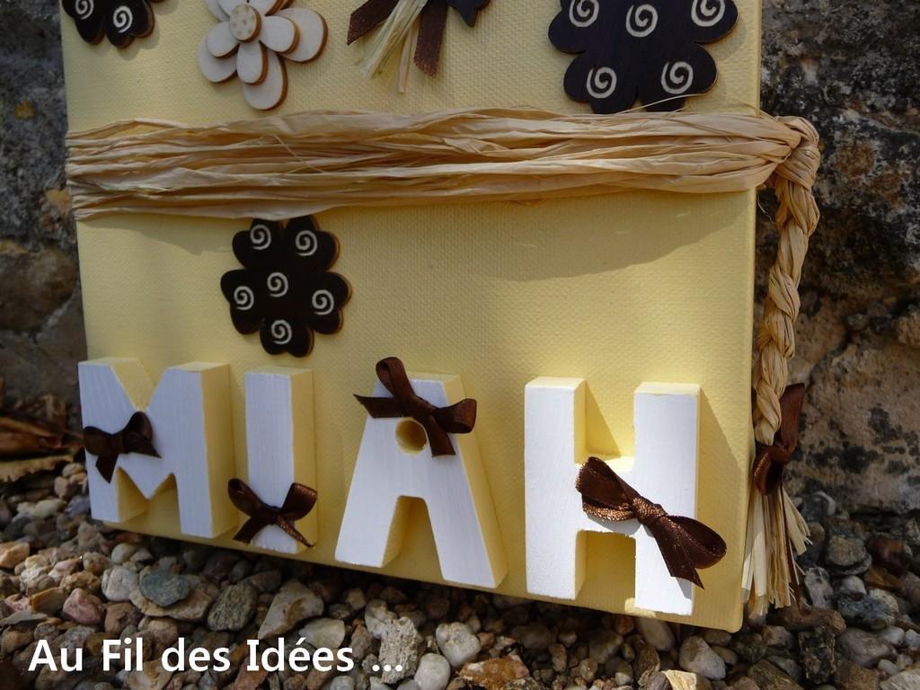 """Tableau prénom """"Miah"""" - Création Juin 2011"""