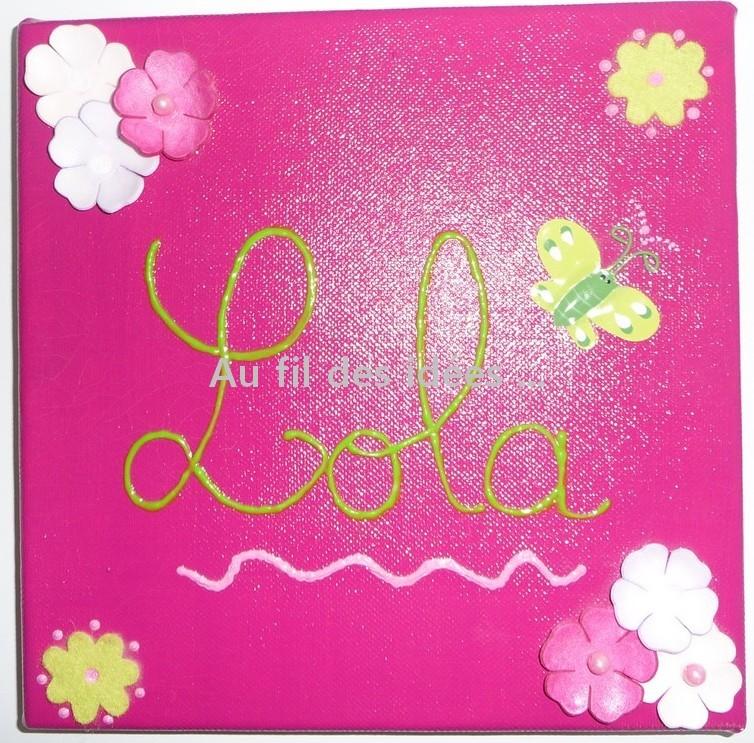 """Tableau Prénom """"Lola"""" (20 x 20 cm) - Création 2007"""