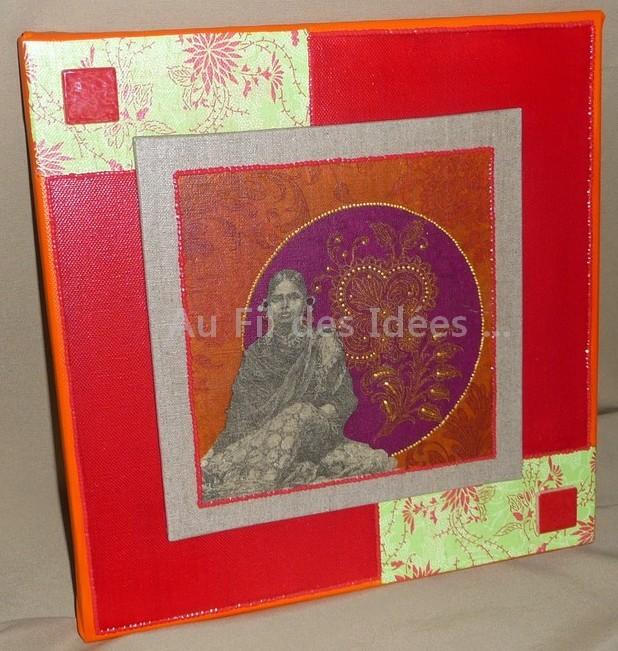 """Tableau """"L'Inde & ses couleurs"""" (chassis 30 x 30 cm)"""