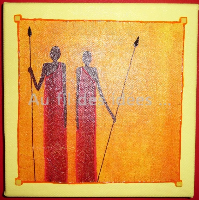 """Tableau """"Africain"""" (chassis 20 x 20 cm)"""
