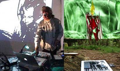 Claude YVANS - PERFORMANCE Electro-PoétiQ, Parlé-Chanté-Joué, le spectacle  s'harmonise  avec une vidéo derrière des instruments étranges joués en live.
