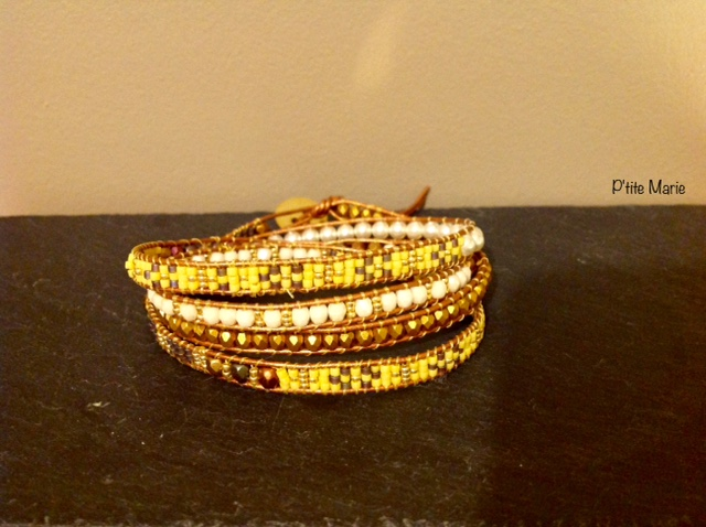 Bracelet cuir, facettes, perles nacrées, perles miyuki / BR : 025 / 15€