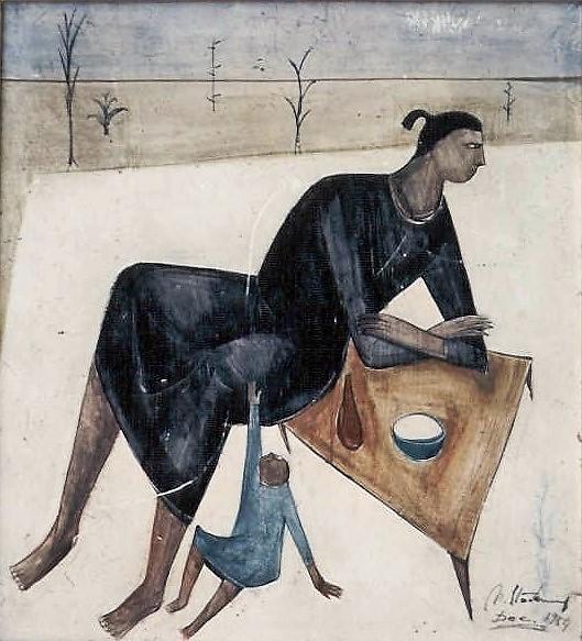 Femme à l'enfant, 1959, huile sur toile, collection particulière Belgique