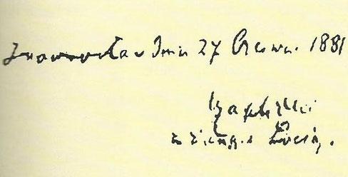 Autograf dra. Leona Czaplickiego z 1881 roku