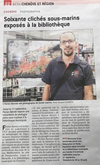 Bien public Exposition Curiosités sous-marines Florian Bernier Bibliothèque Chenôve