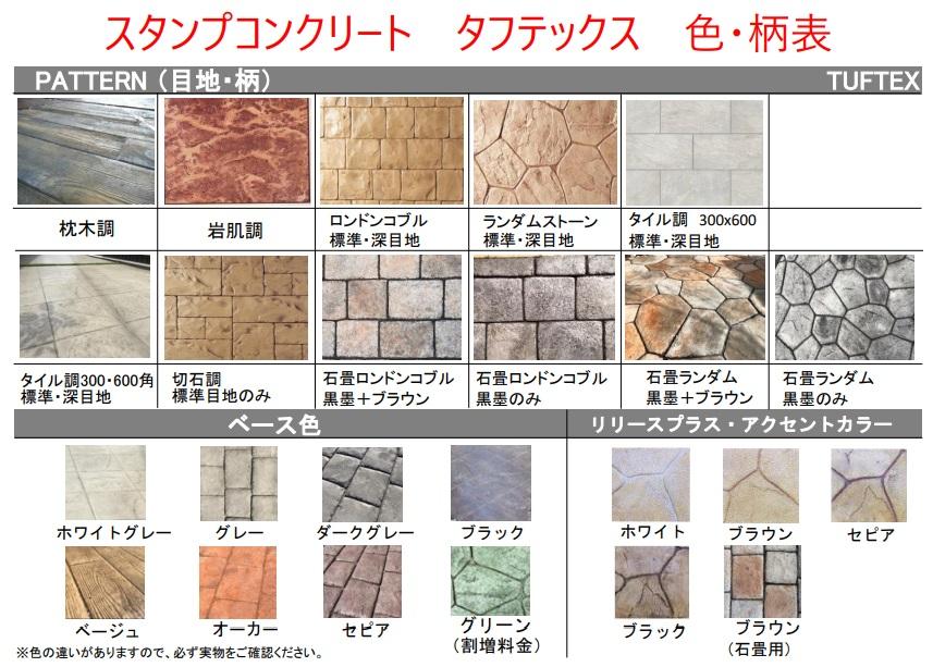 カタログ メニュー サンプル 種類 パターン 色 パンフレット 型 ステンシル  スタンプコンクリート ステンシル ファンタジー モルタル造形 デザインコンクリート タフテックス ローラーストーン