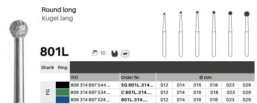 Kugel lang 801L, Diamanten FG