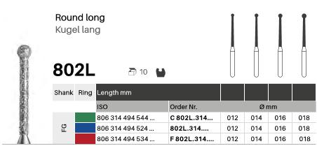 Kugel lang 802L, Diamanten FG