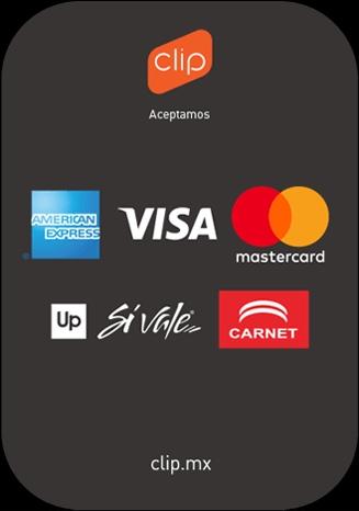 Aceptamos todas estas tarjetas Débito o Credito
