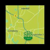 Grafik: Anfahrtsplan zur gemeinnützigen Stiftung Hof Schlüter in Lüneburg | Humanitäres Engagement / Jugendprojekte, Soziale & Hilfsprojekte in Deutschland und der Ukraine