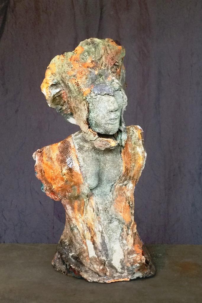 Hoggar. Terre (Paper clay) & technique mixte. Indisponible.H31cm.