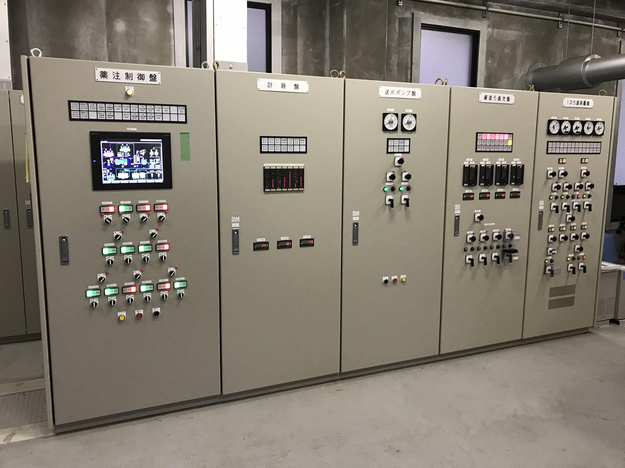 浄水場 監視・制御装置及び制御盤の据付配線、既設制御盤の機能増設作業を実施しました。
