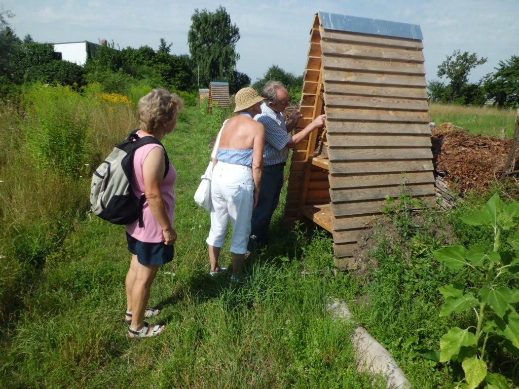 Karlheinz Schuppe zeigt Bewohner im Insektenhotel...